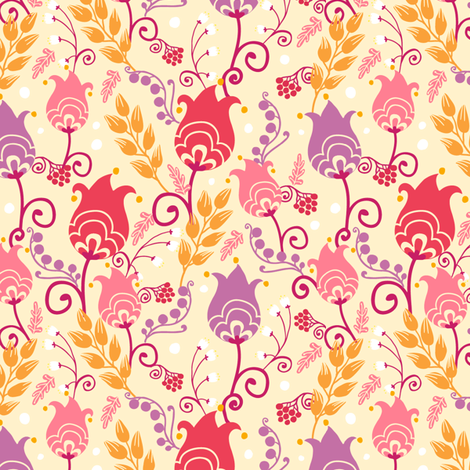 Folk Tulips fabric by oksancia on Spoonflower - custom fabric