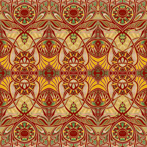 Victorian Gothic (blood/gold negative) fabric by edsel2084 on Spoonflower - custom fabric