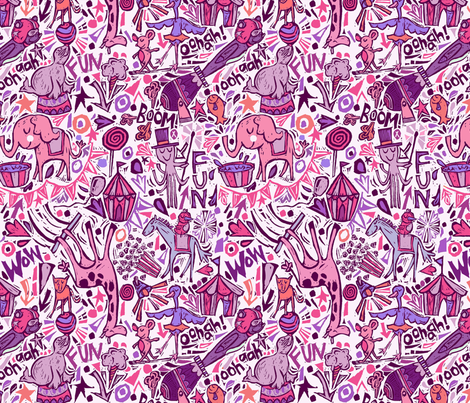 Animal-tastic Circus- Pink Colorway fabric by gsonge on Spoonflower - custom fabric