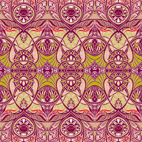 Victorian Gothic (lime, tan, raspberry) fabric by edsel2084 on Spoonflower - custom fabric