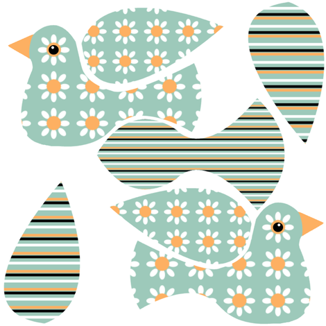 Floral Bird Mini Cut & Sew fabric by nezumiworld on Spoonflower - custom fabric