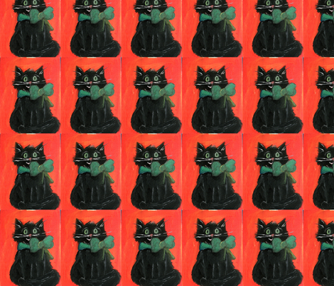 Black cat Halloween Kitty fabric by cappysue on Spoonflower - custom fabric