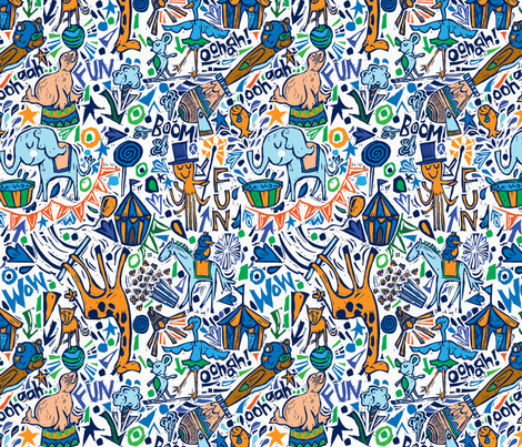 Animal-tastic Circus-BLUE COLORWAY fabric by gsonge on Spoonflower - custom fabric