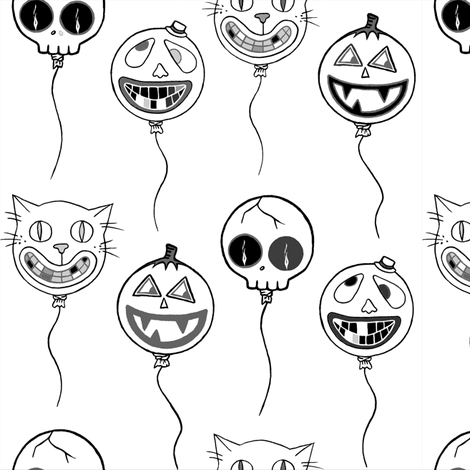 Spooky baloons grey / black / white fabric by puncezilla on Spoonflower - custom fabric