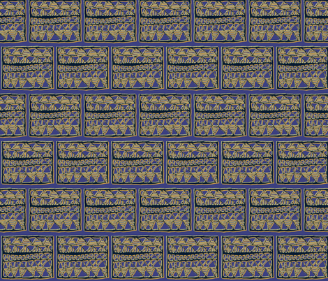 Orange and olive on blue registers fabric by su_g on Spoonflower - custom fabric