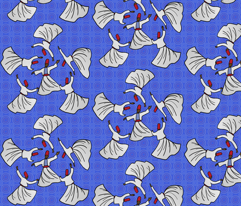 A whirl of dervishes on bright blue fabric by su_g on Spoonflower - custom fabric
