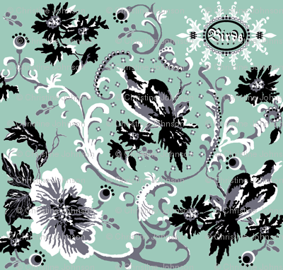 birds of paradise / spoonflower- steel