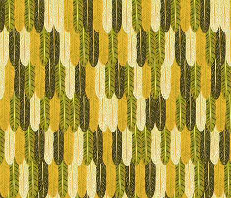 The feather forest - mustard - fabric by frumafar on Spoonflower - custom fabric