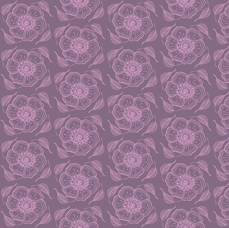 purple flowers fabric by caresa on Spoonflower - custom fabric