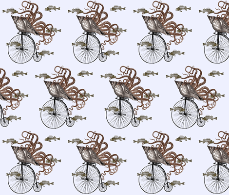 Fish Needs a Bicycle fabric by glanoramay on Spoonflower - custom fabric