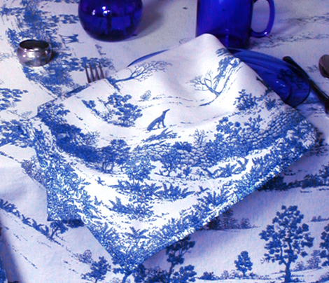 TOILE NAPKIN AND EXTRAS SET BLUE 2 yard print ©2012 by Jane Walker