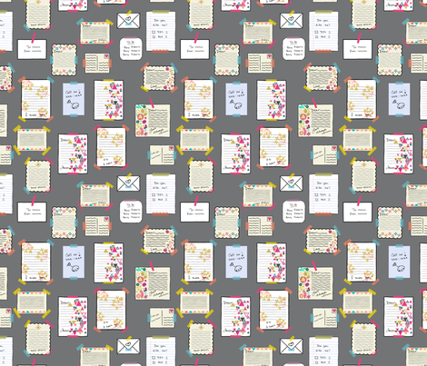 Notes - Grey fabric by iheartlinen_ on Spoonflower - custom fabric