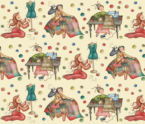 Sewing Girls fabric by catru on Spoonflower - custom fabric