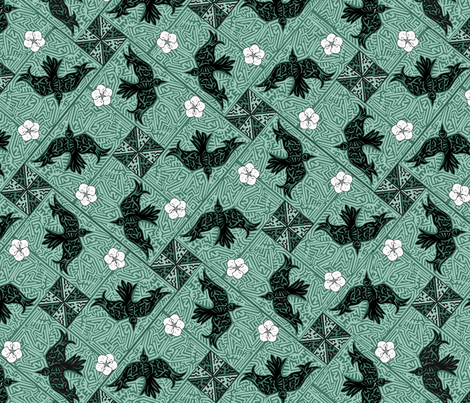 ©2011 Whirley Birds and White Flowers - zoom 2 see fabric by glimmericks on Spoonflower - custom fabric
