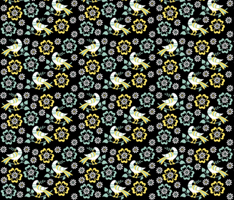 birds in clouds of flowers fabric by eva_krasilni_razbor on Spoonflower - custom fabric