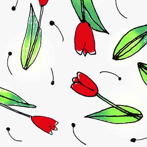 red tulips -ed fabric by mimi&amp;me on Spoonflower - custom fabric