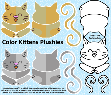 Cute Kits Color Kittens Plushies fabric by kdl on Spoonflower - custom fabric