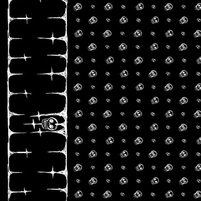 Scribble Goth - Skull Border with Polka Dots, black