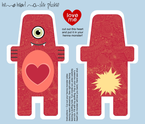 henna heart monster plushie fabric by jaja on Spoonflower - custom fabric
