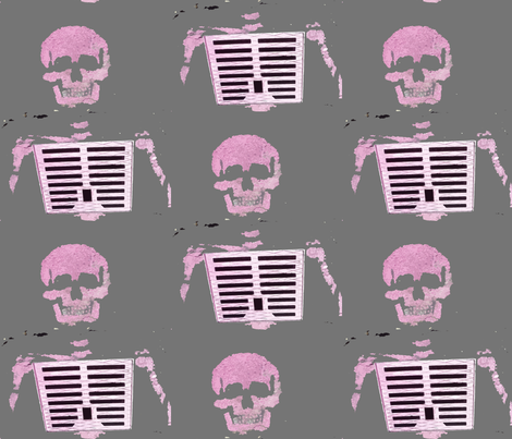 Skeleton Graffiti, Paris fabric by susaninparis on Spoonflower - custom fabric