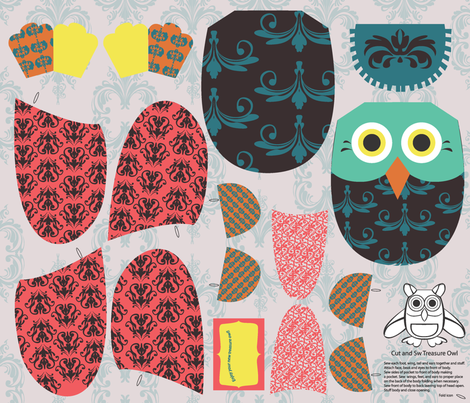 CutSewTreasureOwl2011 fabric by nikky on Spoonflower - custom fabric