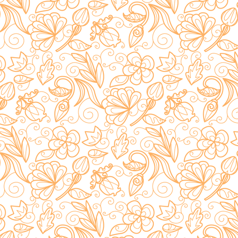 Dewdrop Floral Tangerine fabric by jillianmorris on Spoonflower - custom fabric
