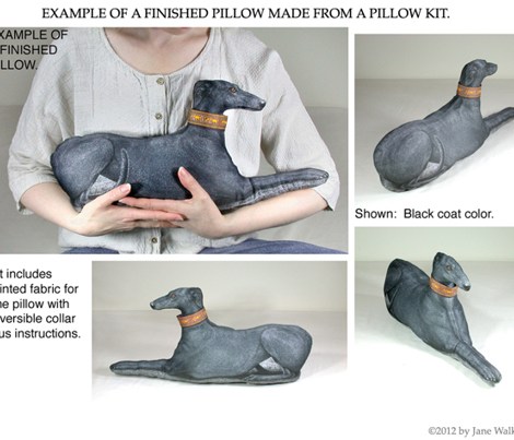 Black Tuxedo Greyhound plushie pillow kit ©2011 by Jane Walker