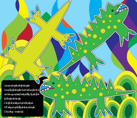 Groovy Iguana fabric by owlandchickadee on Spoonflower - custom fabric