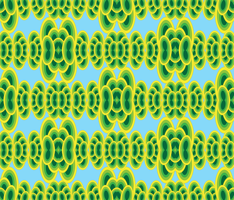 Groovy Iguana - Green and Blue fabric by owlandchickadee on Spoonflower - custom fabric