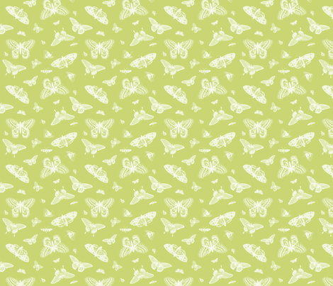 Celery Vintage Butterflies fabric by sweetzoeshop on Spoonflower - custom fabric
