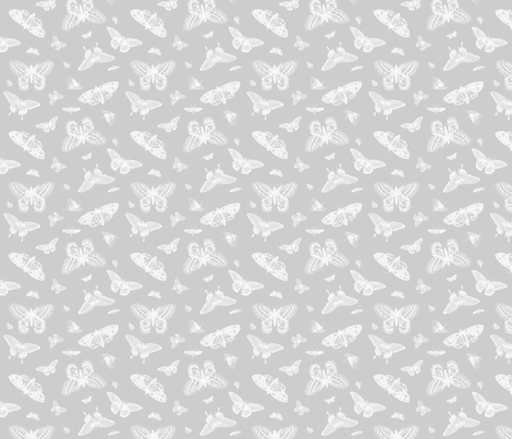 Gray Vintage Butterflies fabric by sweetzoeshop on Spoonflower - custom fabric