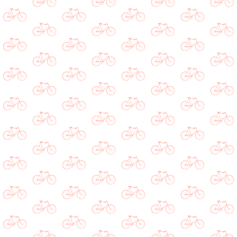Coral Vintage Bicycle fabric by sweetzoeshop on Spoonflower - custom fabric