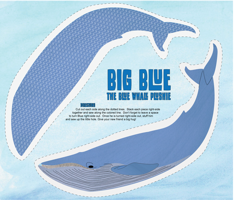 Big Blue - The Blue Whale Plushie fabric by wildnotions on Spoonflower - custom fabric