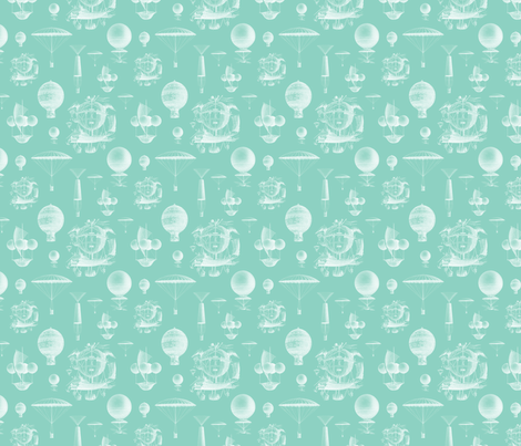 Mint Vintage Balloons fabric by sweetzoeshop on Spoonflower - custom fabric