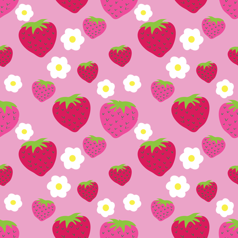oh...strawberry fabric by lilliblomma on Spoonflower - custom fabric