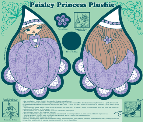Paisley Princess Plushie Brunette fabric by jillianmorris on Spoonflower - custom fabric