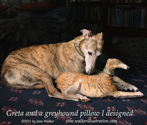 Red Brindle Greyhound plushie pillow kit ©2011 by Jane Walker