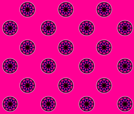 Blue & Pink Rose Kaleidoscope fabric by artist4god on Spoonflower - custom fabric