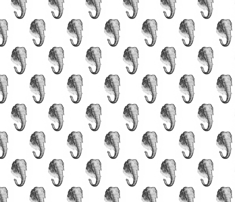 Vintage Elephants - Black and White fabric by sweetzoeshop on Spoonflower - custom fabric