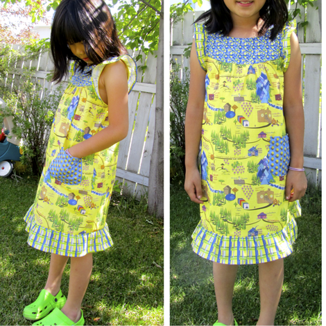 Andrea in the Fairy Tail Map dress. fabric by petals_fair on Spoonflower - custom fabric
