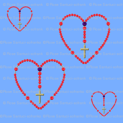 Rosaries (Red roses for beads) on light blue background