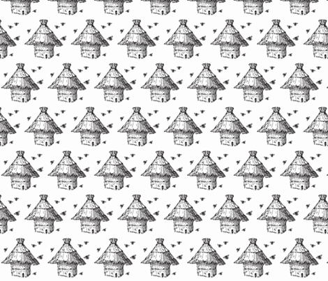 buzzz (black & white) fabric by pattyryboltdesigns on Spoonflower - custom fabric