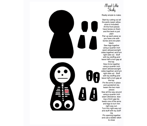 little_skelly_with_instructions-ed fabric by messy on Spoonflower - custom fabric