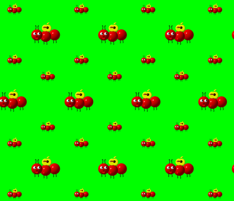 Cute Ant with Apple fabric by artist4god on Spoonflower - custom fabric
