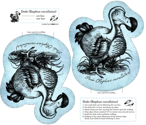 Dodo (Raphus cucullatus) fabric by trubludesign on Spoonflower - custom fabric