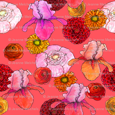 summer flowers red, orange, pink