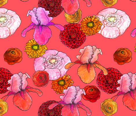 summer flowers red, orange, pink fabric by jeanne-design-illustration on Spoonflower - custom fabric