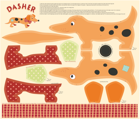 Dasher the Daschund dog_plushie fabric by daniellehanson on Spoonflower - custom fabric