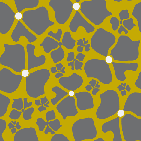 Floral Gold and Gray fabric by joanmclemore on Spoonflower - custom fabric