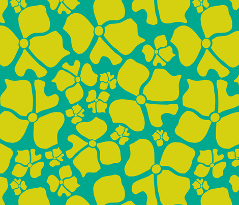 Floral Yellow and Turquoise fabric by joanmclemore on Spoonflower - custom fabric